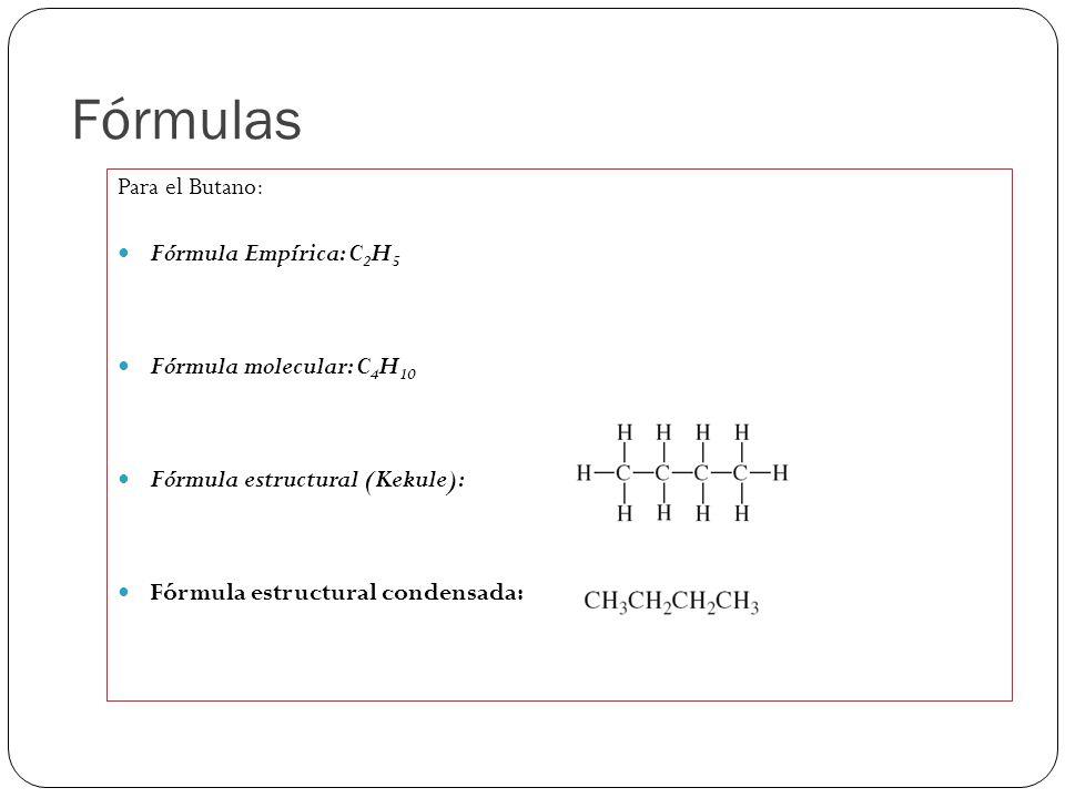 Fórmulas Para el Butano: Fórmula Empírica: C 2 H 5 Fórmula molecular: C 4 H 10 Fórmula estructural (Kekule): Fórmula estructural condensada: