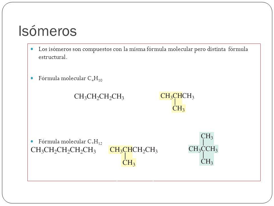 Isómeros Los isómeros son compuestos con la misma fórmula molecular pero distinta fórmula estructural. Fórmula molecular C 4 H 10 Fórmula molecular C