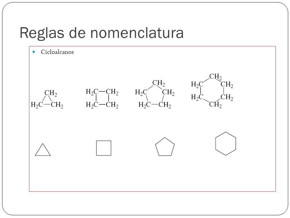 Reglas de nomenclatura Cicloalcanos Ciclopropano Ciclobutano Ciclopentano Ciclohexano