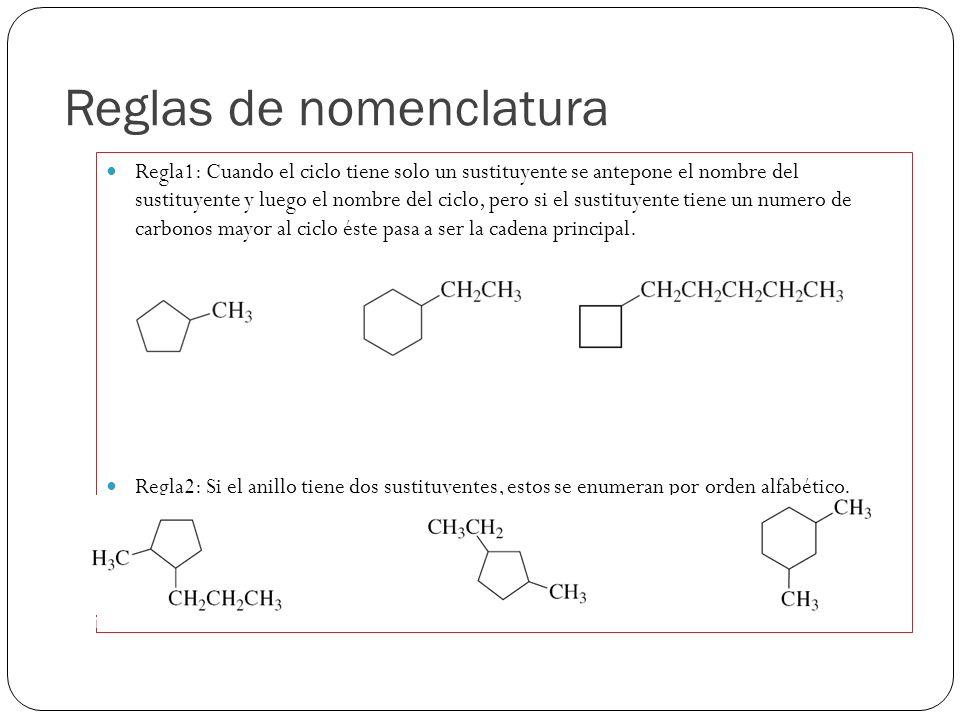Reglas de nomenclatura Regla1: Cuando el ciclo tiene solo un sustituyente se antepone el nombre del sustituyente y luego el nombre del ciclo, pero si