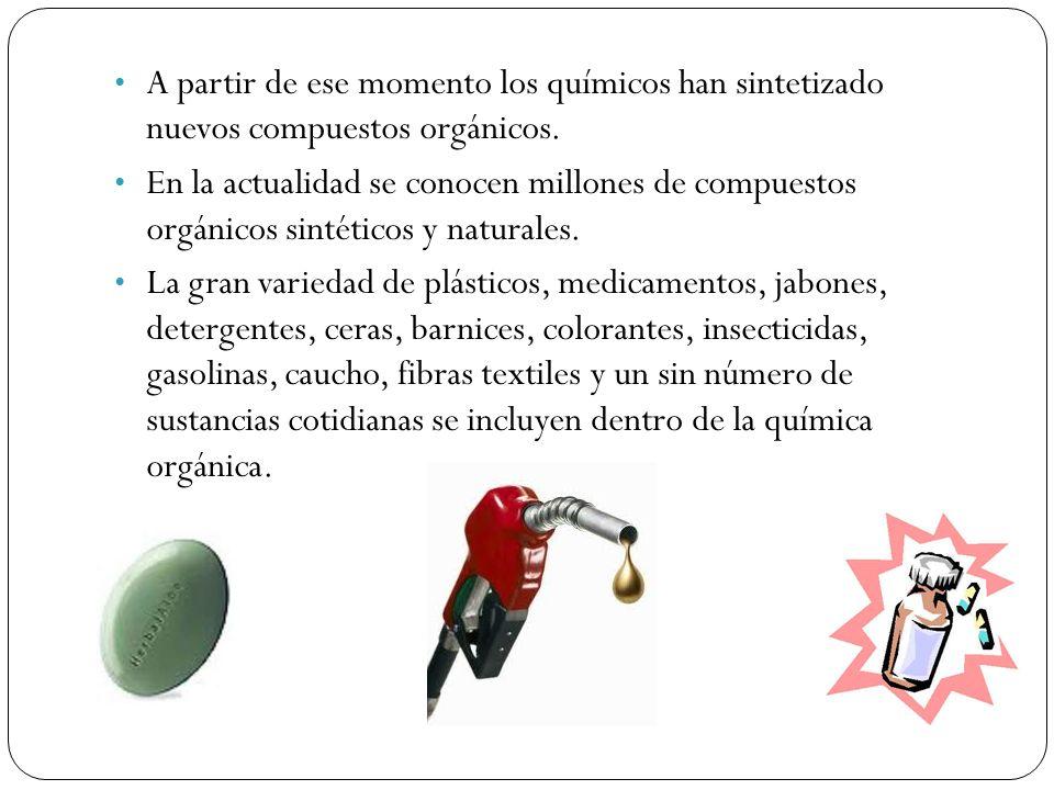 A partir de ese momento los químicos han sintetizado nuevos compuestos orgánicos. En la actualidad se conocen millones de compuestos orgánicos sintéti