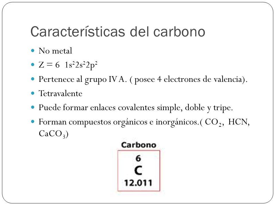 Características del carbono No metal Z = 6 1s 2 2s 2 2p 2 Pertenece al grupo IV A. ( posee 4 electrones de valencia). Tetravalente Puede formar enlace