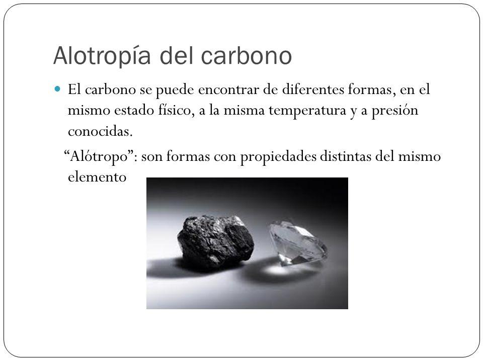 Alotropía del carbono El carbono se puede encontrar de diferentes formas, en el mismo estado físico, a la misma temperatura y a presión conocidas. Aló