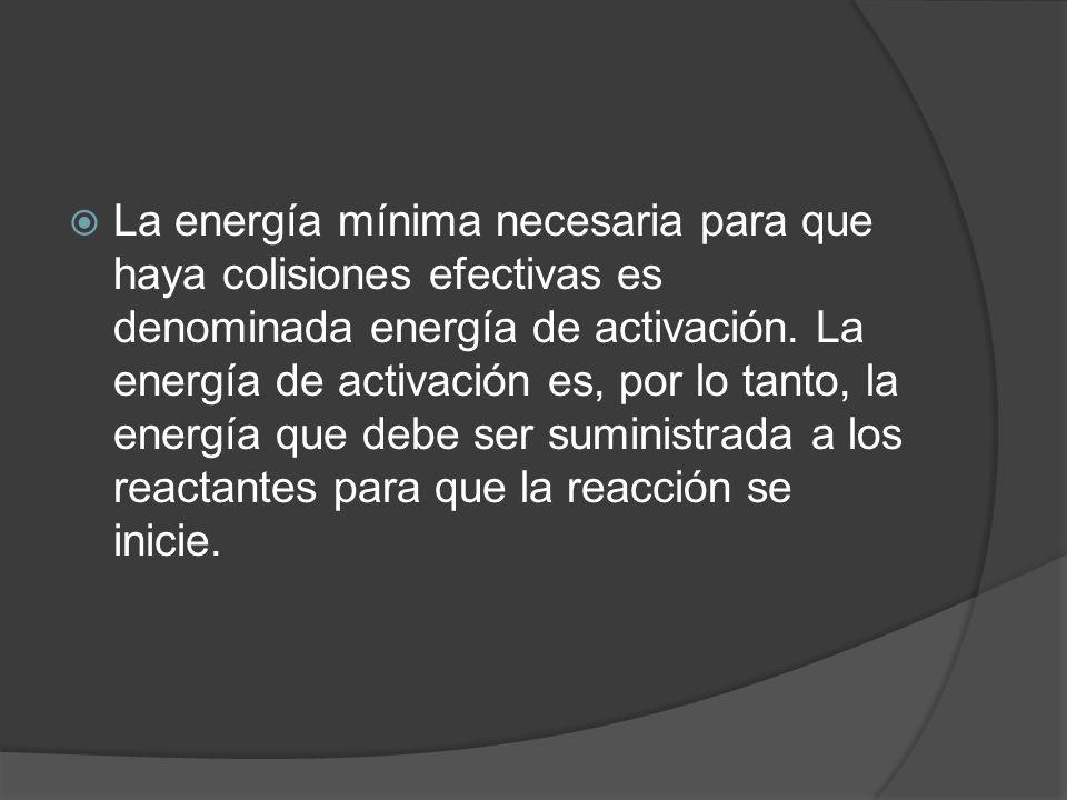 La energía mínima necesaria para que haya colisiones efectivas es denominada energía de activación. La energía de activación es, por lo tanto, la ener