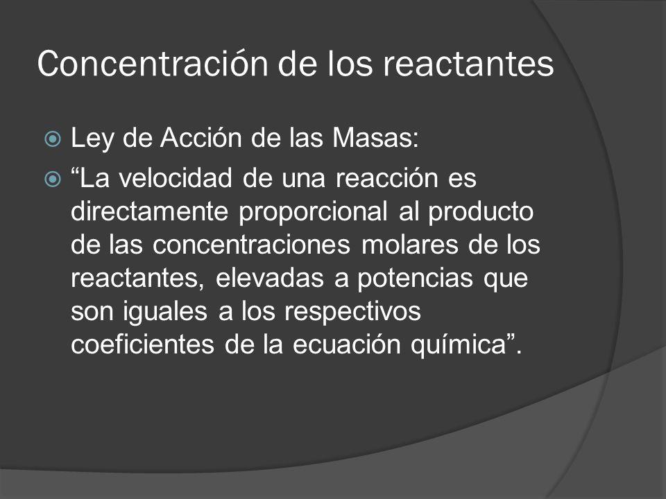 Concentración de los reactantes Ley de Acción de las Masas: La velocidad de una reacción es directamente proporcional al producto de las concentracion
