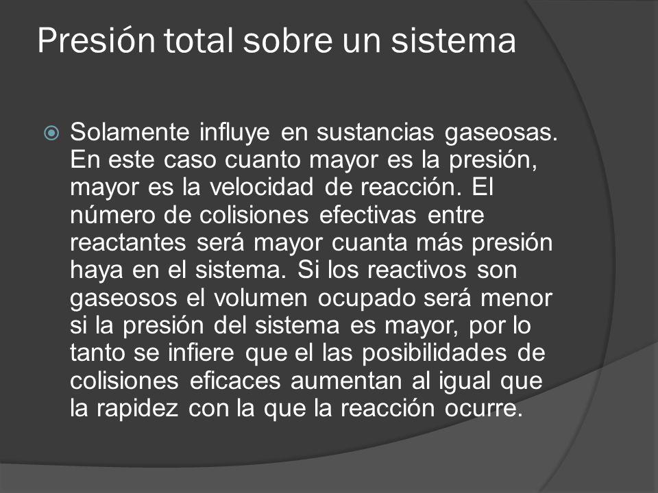 Presión total sobre un sistema Solamente influye en sustancias gaseosas. En este caso cuanto mayor es la presión, mayor es la velocidad de reacción. E