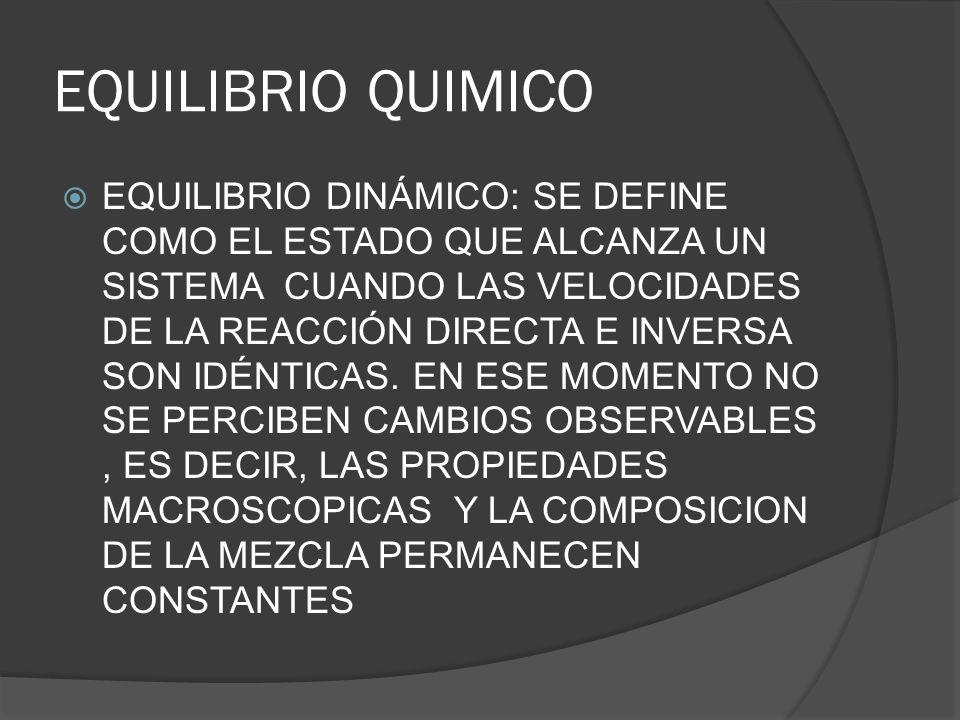 EQUILIBRIO QUIMICO EQUILIBRIO DINÁMICO: SE DEFINE COMO EL ESTADO QUE ALCANZA UN SISTEMA CUANDO LAS VELOCIDADES DE LA REACCIÓN DIRECTA E INVERSA SON ID