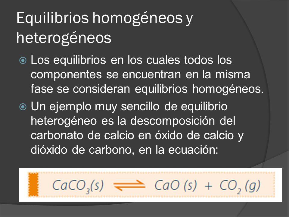 Equilibrios homogéneos y heterogéneos Los equilibrios en los cuales todos los componentes se encuentran en la misma fase se consideran equilibrios hom