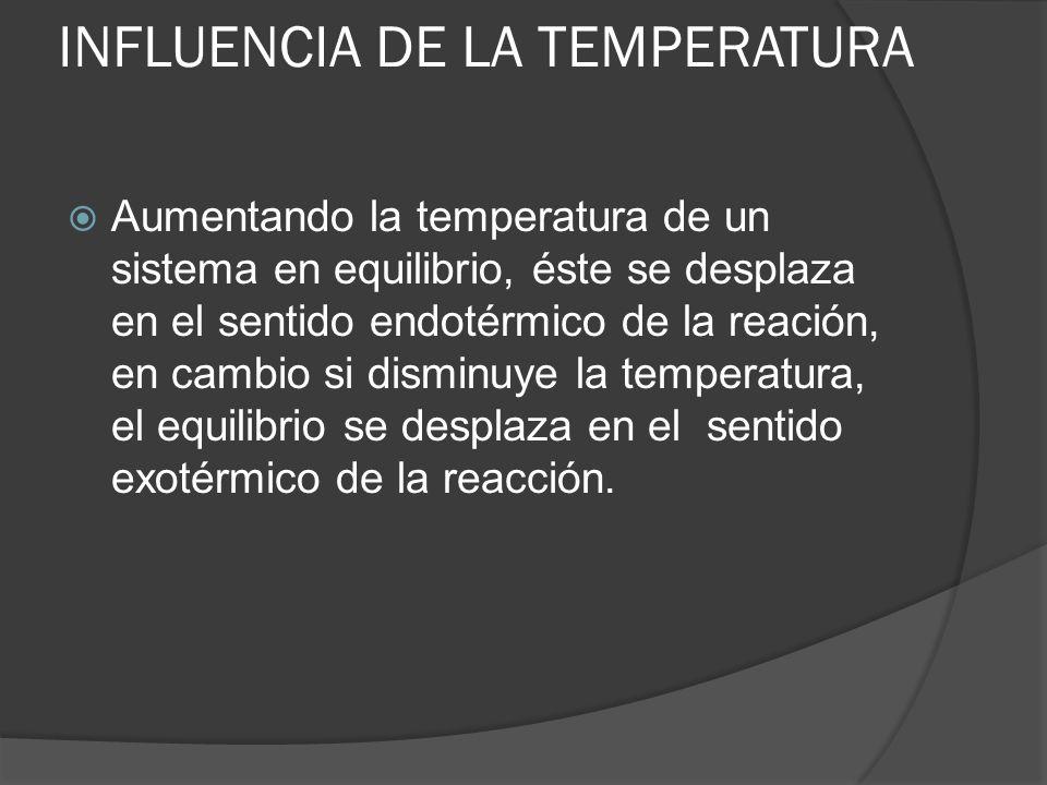 INFLUENCIA DE LA TEMPERATURA Aumentando la temperatura de un sistema en equilibrio, éste se desplaza en el sentido endotérmico de la reación, en cambi