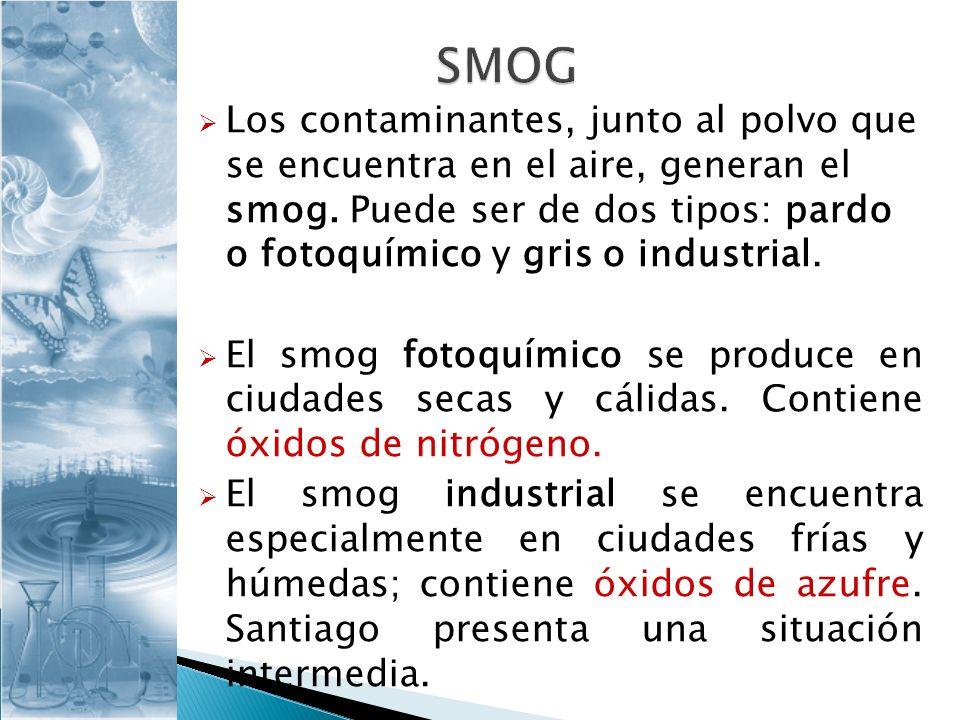 Los contaminantes, junto al polvo que se encuentra en el aire, generan el smog. Puede ser de dos tipos: pardo o fotoquímico y gris o industrial. El sm