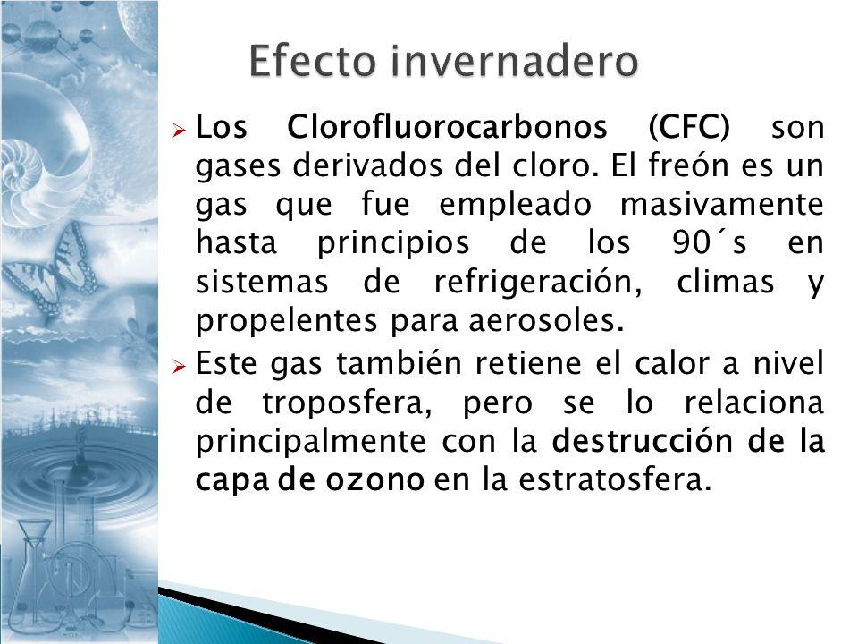 Los Clorofluorocarbonos (CFC) son gases derivados del cloro. El freón es un gas que fue empleado masivamente hasta principios de los 90´s en sistemas