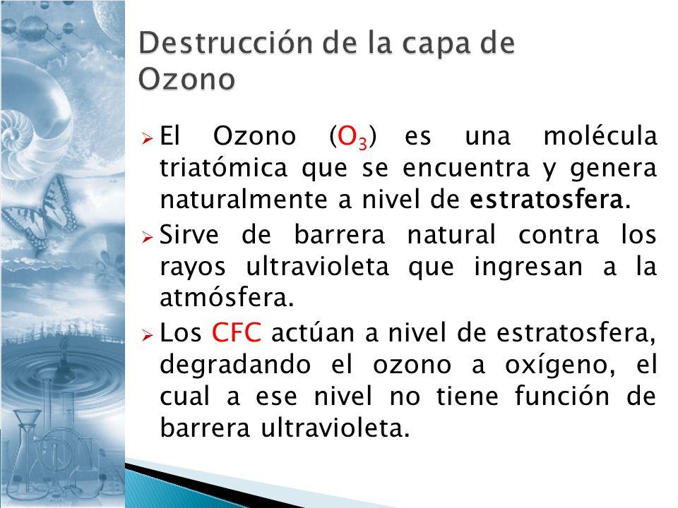 El Ozono (O 3 ) es una molécula triatómica que se encuentra y genera naturalmente a nivel de estratosfera. Sirve de barrera natural contra los rayos u