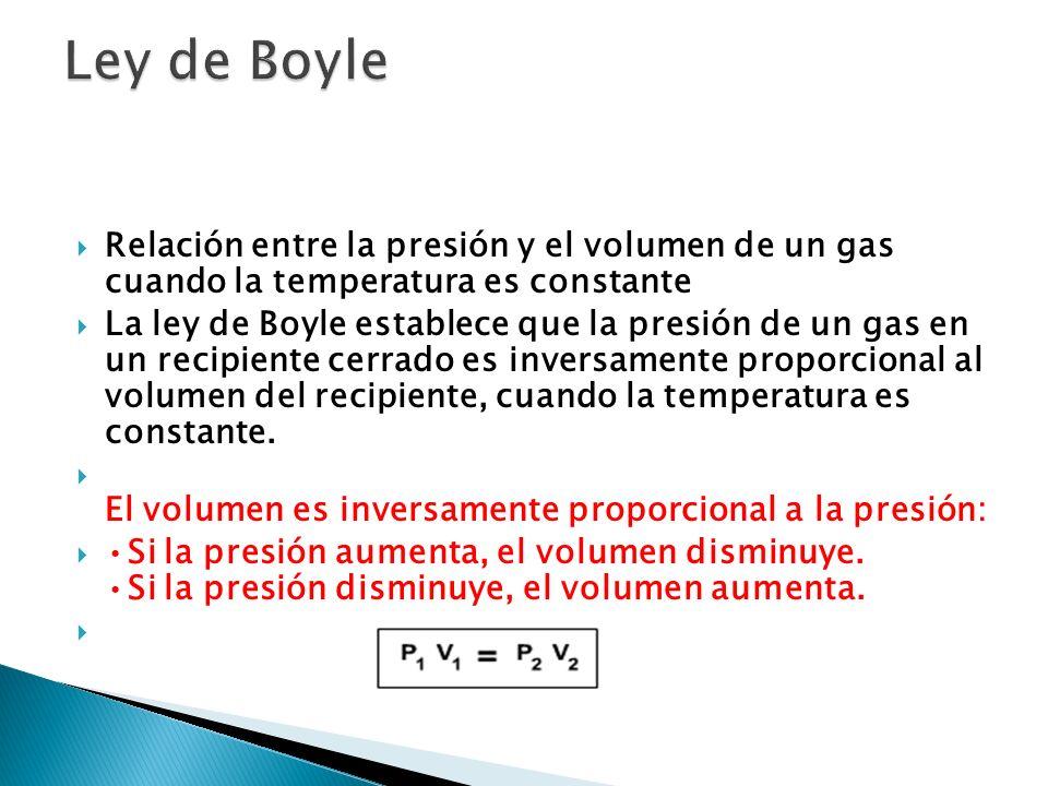 Relación entre la presión y el volumen de un gas cuando la temperatura es constante La ley de Boyle establece que la presión de un gas en un recipient