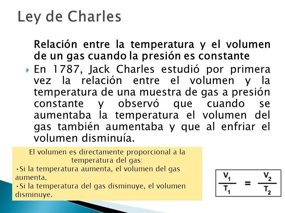 Relación entre la temperatura y el volumen de un gas cuando la presión es constante En 1787, Jack Charles estudió por primera vez la relación entre el
