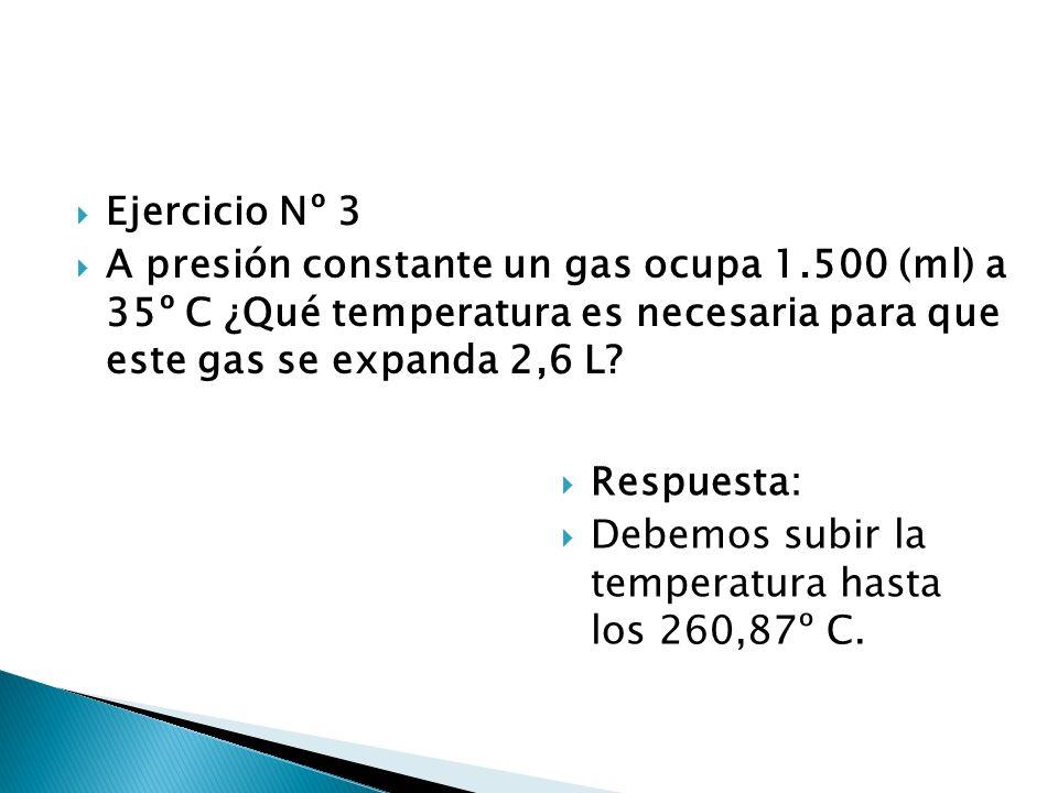 Ejercicio Nº 3 A presión constante un gas ocupa 1.500 (ml) a 35º C ¿Qué temperatura es necesaria para que este gas se expanda 2,6 L? Respuesta: Debemo