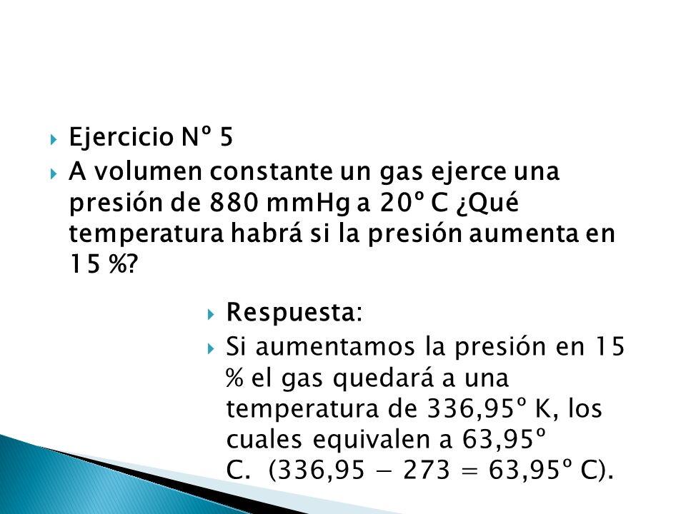 Ejercicio Nº 5 A volumen constante un gas ejerce una presión de 880 mmHg a 20º C ¿Qué temperatura habrá si la presión aumenta en 15 %? Respuesta: Si a