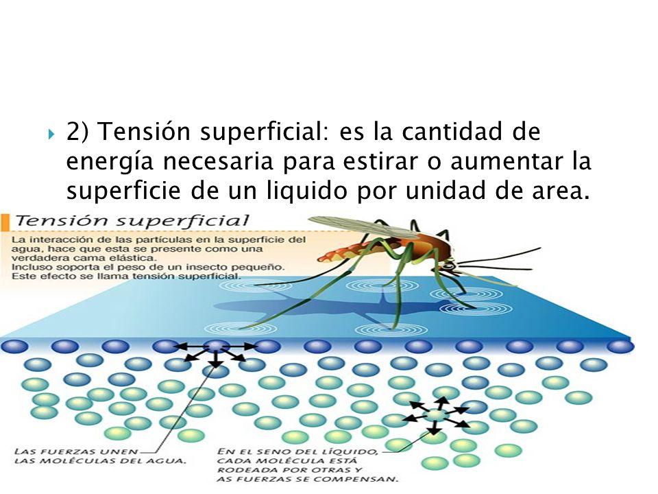 2) Tensión superficial: es la cantidad de energía necesaria para estirar o aumentar la superficie de un liquido por unidad de area.