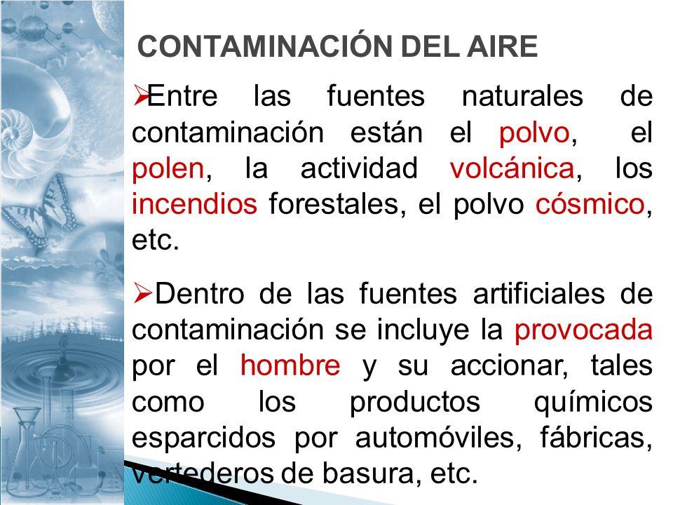 Entre las fuentes naturales de contaminación están el polvo, el polen, la actividad volcánica, los incendios forestales, el polvo cósmico, etc. Dentro