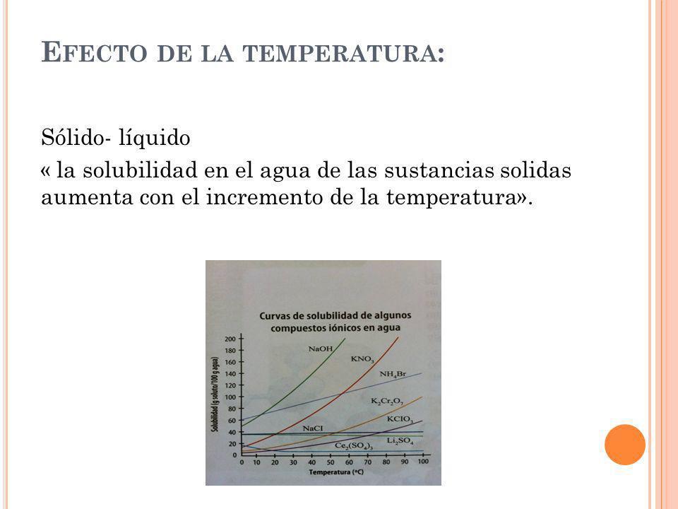E FECTO DE LA TEMPERATURA : Sólido- líquido « la solubilidad en el agua de las sustancias solidas aumenta con el incremento de la temperatura».