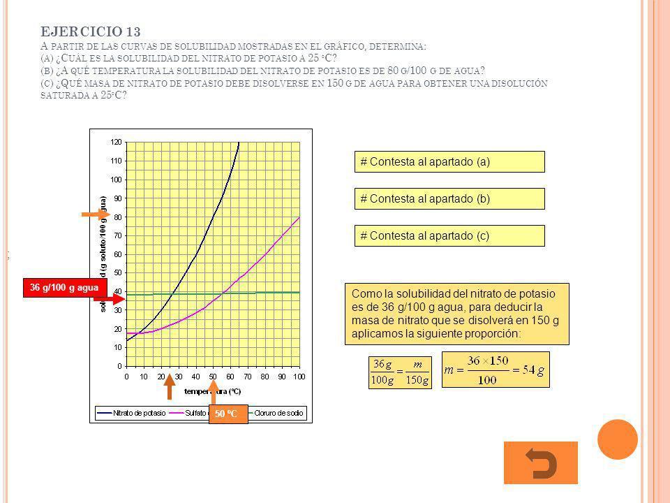 EJERCICIO 13 A PARTIR DE LAS CURVAS DE SOLUBILIDAD MOSTRADAS EN EL GRÁFICO, DETERMINA : ( A ) ¿C UÁL ES LA SOLUBILIDAD DEL NITRATO DE POTASIO A 25 º C