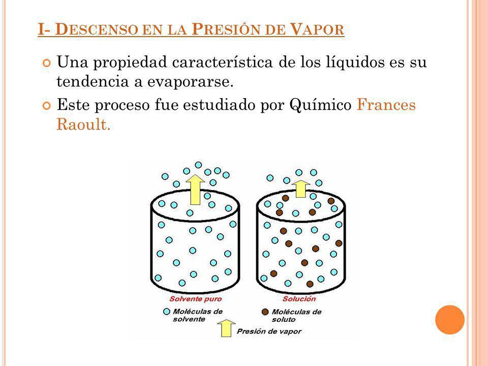 I- D ESCENSO EN LA P RESIÓN DE V APOR Una propiedad característica de los líquidos es su tendencia a evaporarse. Este proceso fue estudiado por Químic