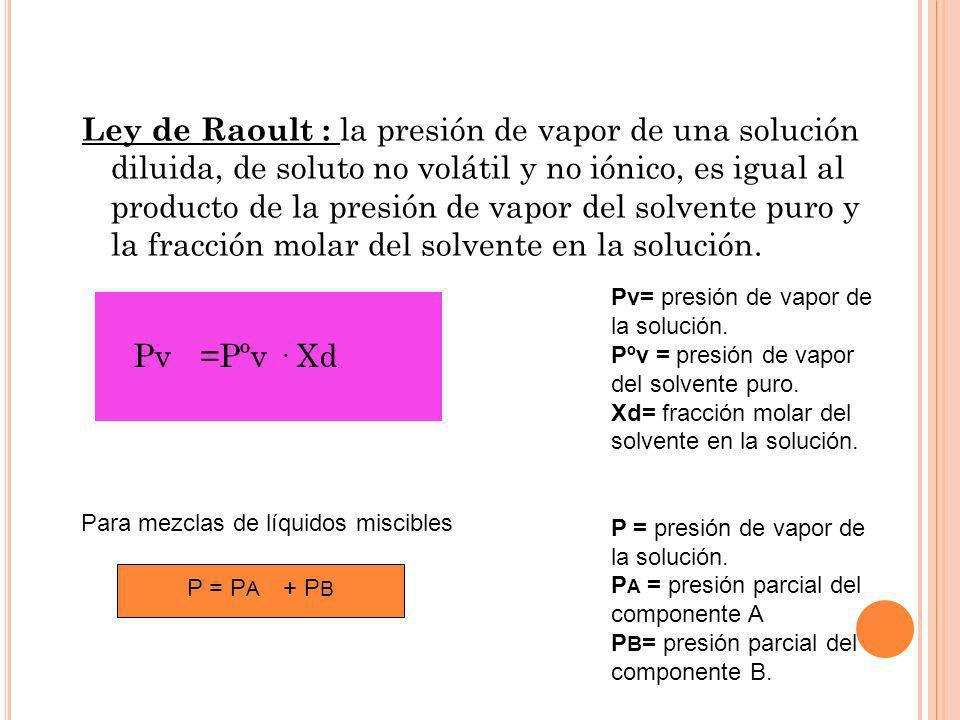 Ley de Raoult : la presión de vapor de una solución diluida, de soluto no volátil y no iónico, es igual al producto de la presión de vapor del solvent
