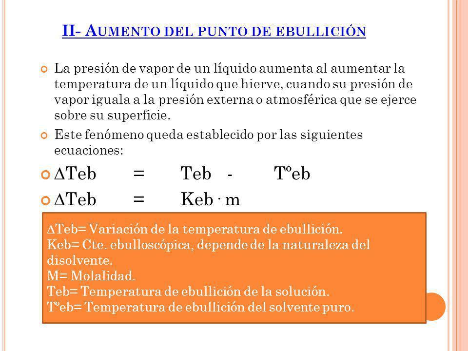 II- A UMENTO DEL PUNTO DE EBULLICIÓN La presión de vapor de un líquido aumenta al aumentar la temperatura de un líquido que hierve, cuando su presión