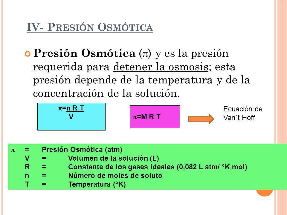 IV- P RESIÓN O SMÓTICA Presión Osmótica ( ) y es la presión requerida para detener la osmosis; esta presión depende de la temperatura y de la concentr