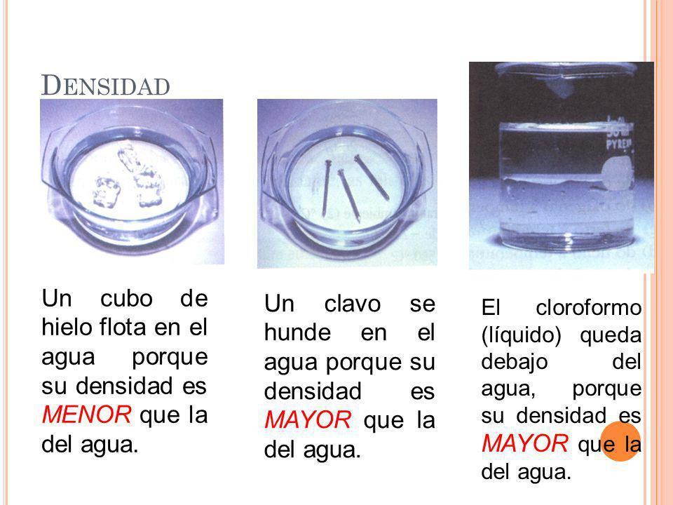 D ENSIDAD Un cubo de hielo flota en el agua porque su densidad es MENOR que la del agua. Un clavo se hunde en el agua porque su densidad es MAYOR que