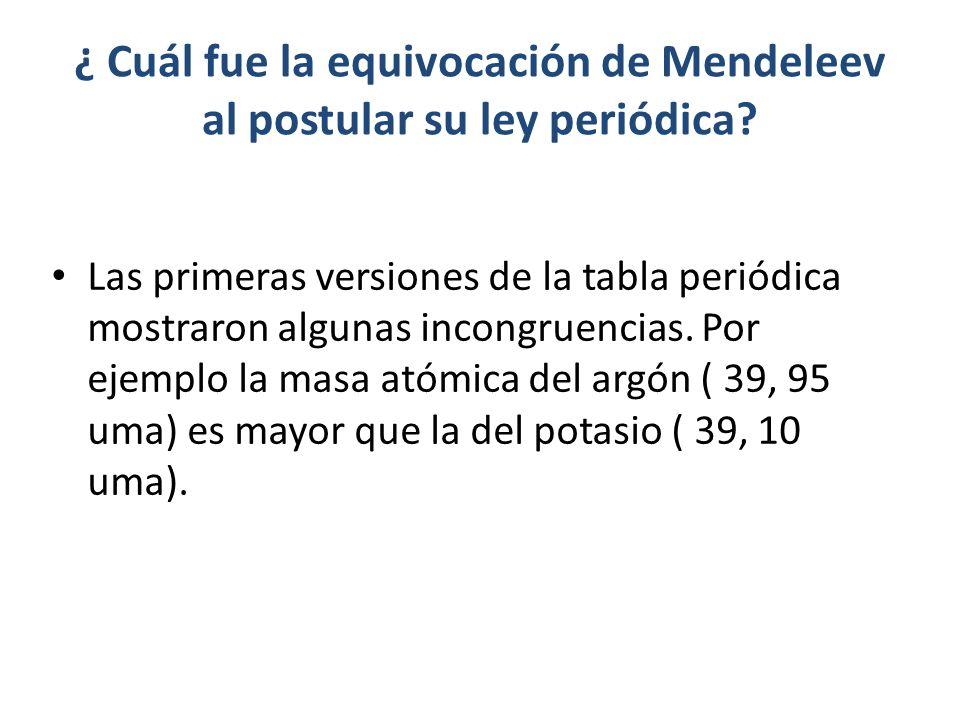 ¿ Cuál fue la equivocación de Mendeleev al postular su ley periódica? Las primeras versiones de la tabla periódica mostraron algunas incongruencias. P