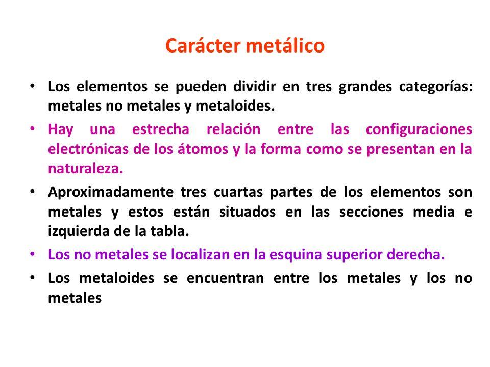 Carácter metálico Los elementos se pueden dividir en tres grandes categorías: metales no metales y metaloides. Hay una estrecha relación entre las con