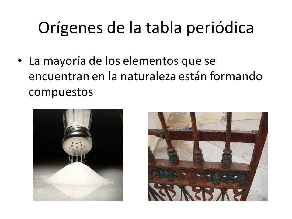 Orígenes de la tabla periódica La mayoría de los elementos que se encuentran en la naturaleza están formando compuestos