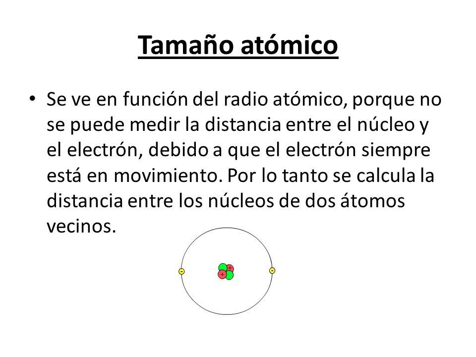 Tamaño atómico Se ve en función del radio atómico, porque no se puede medir la distancia entre el núcleo y el electrón, debido a que el electrón siemp
