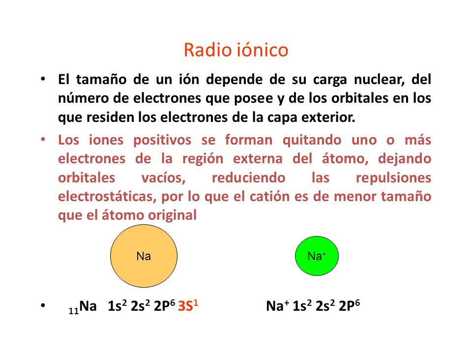 Radio iónico El tamaño de un ión depende de su carga nuclear, del número de electrones que posee y de los orbitales en los que residen los electrones