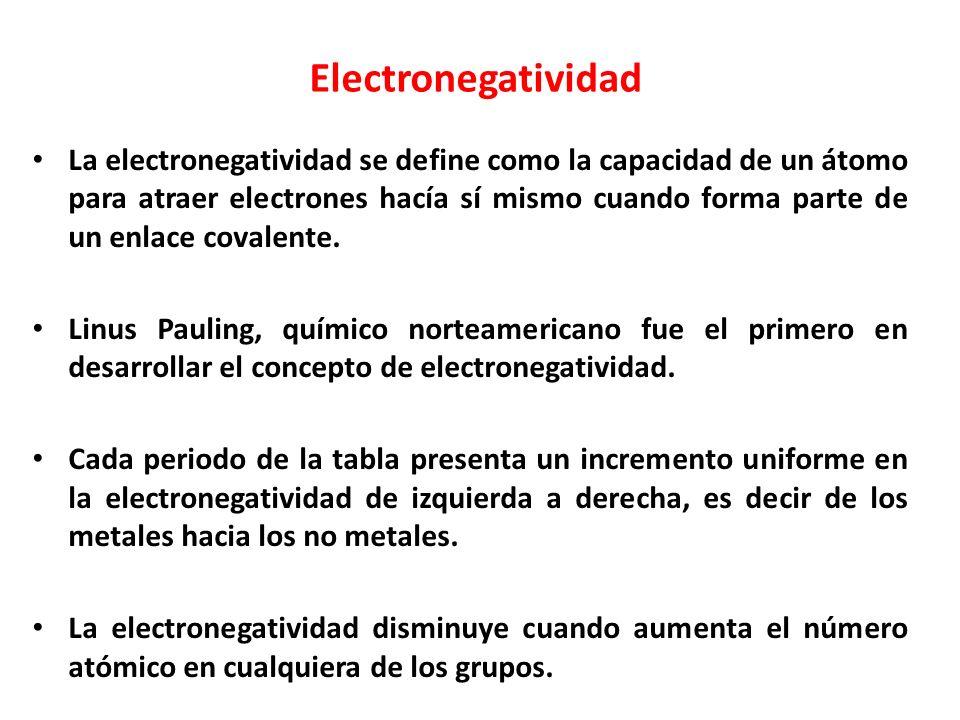 Electronegatividad La electronegatividad se define como la capacidad de un átomo para atraer electrones hacía sí mismo cuando forma parte de un enlace