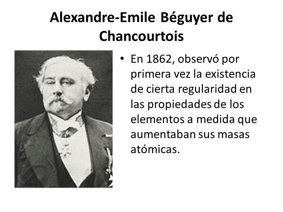 Alexandre-Emile Béguyer de Chancourtois Dedujo que las propiedades se repetían cada ocho elementos, surgiendo la idea de periocidad
