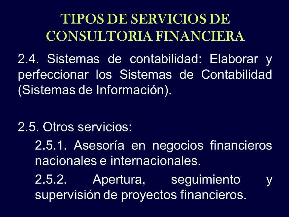 TIPOS DE SERVICIOS DE CONSULTORIA FINANCIERA 2.4. Sistemas de contabilidad: Elaborar y perfeccionar los Sistemas de Contabilidad (Sistemas de Informac