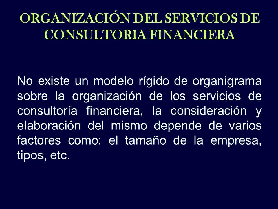 ORGANIZACIÓN DEL SERVICIOS DE CONSULTORIA FINANCIERA No existe un modelo rígido de organigrama sobre la organización de los servicios de consultoría f