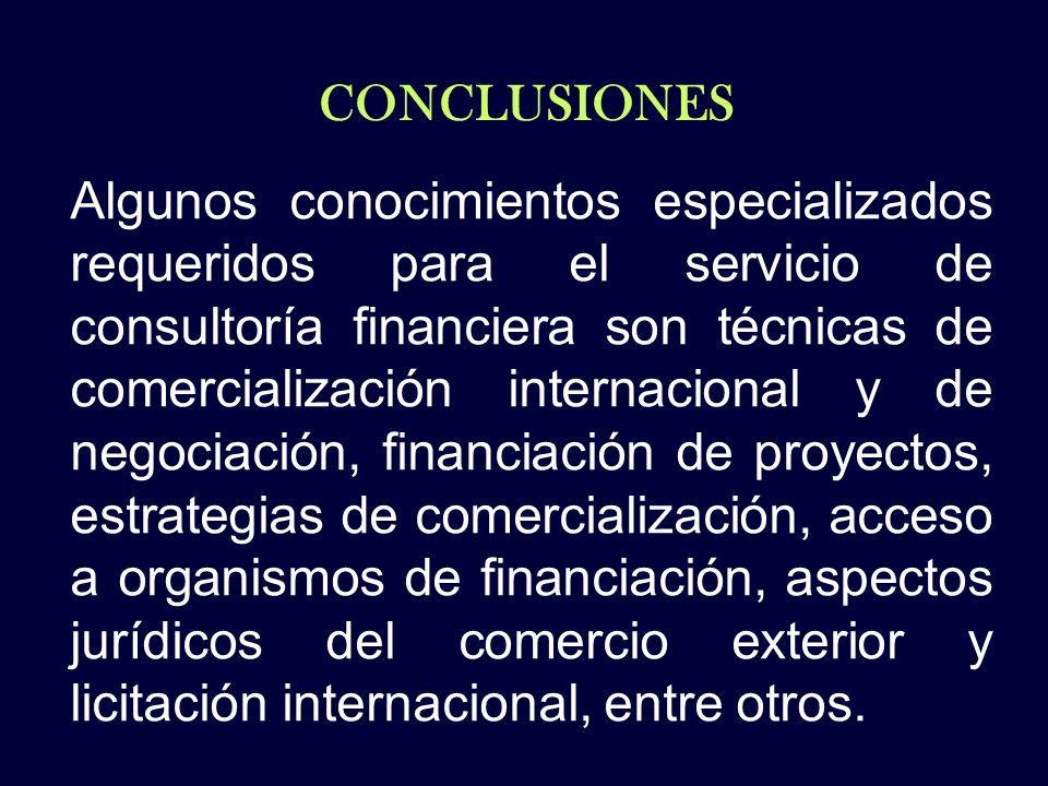 CONCLUSIONES Algunos conocimientos especializados requeridos para el servicio de consultoría financiera son técnicas de comercialización internacional