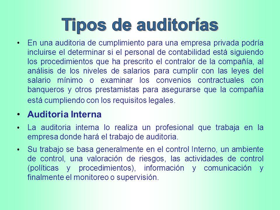 Auditoria de Gestión Auditoria ambiental Auditoria Fiscal Auditoria tributaria