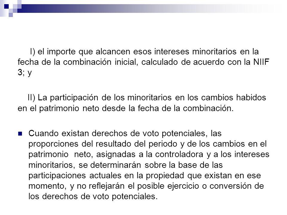 I) el importe que alcancen esos intereses minoritarios en la fecha de la combinación inicial, calculado de acuerdo con la NIIF 3; y II) La participaci