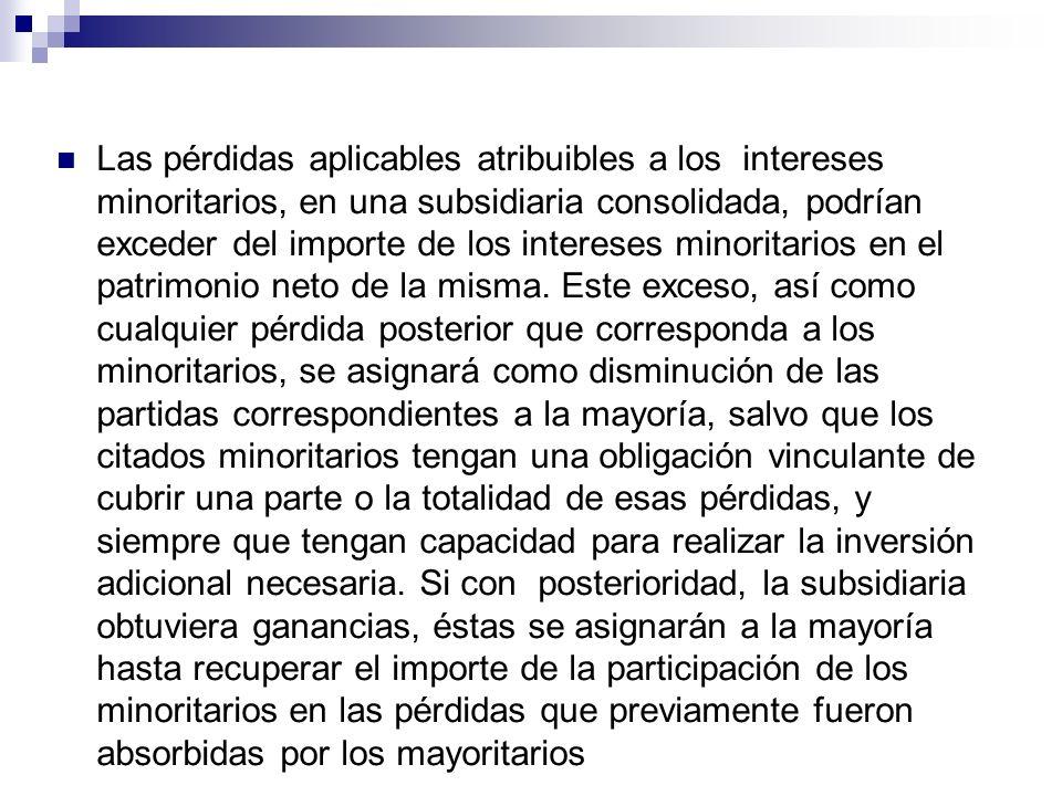 Las pérdidas aplicables atribuibles a los intereses minoritarios, en una subsidiaria consolidada, podrían exceder del importe de los intereses minorit