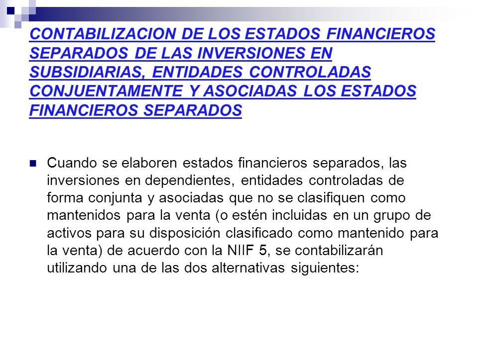 CONTABILIZACION DE LOS ESTADOS FINANCIEROS SEPARADOS DE LAS INVERSIONES EN SUBSIDIARIAS, ENTIDADES CONTROLADAS CONJUENTAMENTE Y ASOCIADAS LOS ESTADOS