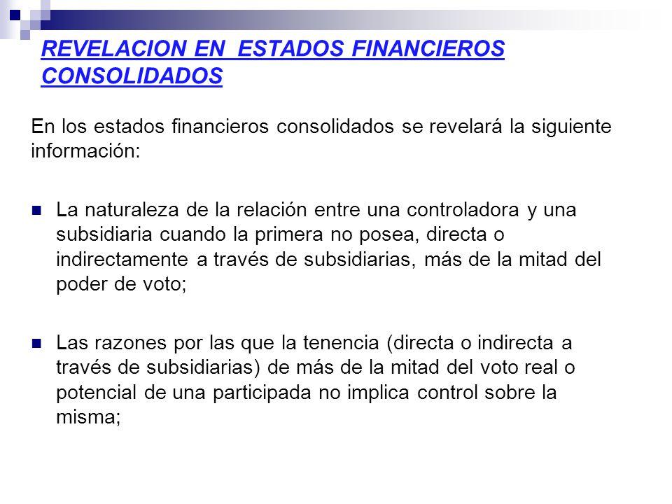 REVELACION EN ESTADOS FINANCIEROS CONSOLIDADOS En los estados financieros consolidados se revelará la siguiente información: La naturaleza de la relac