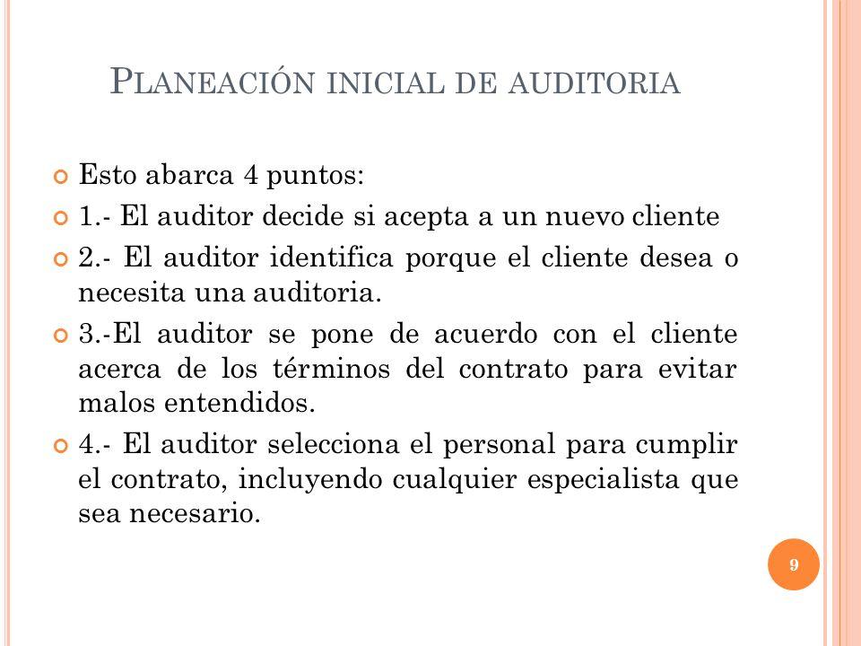 P LANEACIÓN INICIAL DE AUDITORIA Esto abarca 4 puntos: 1.- El auditor decide si acepta a un nuevo cliente 2.- El auditor identifica porque el cliente