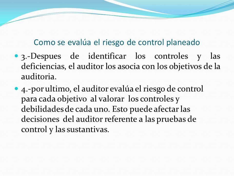 Como se evalúa el riesgo de control planeado 3.-Despues de identificar los controles y las deficiencias, el auditor los asocia con los objetivos de la