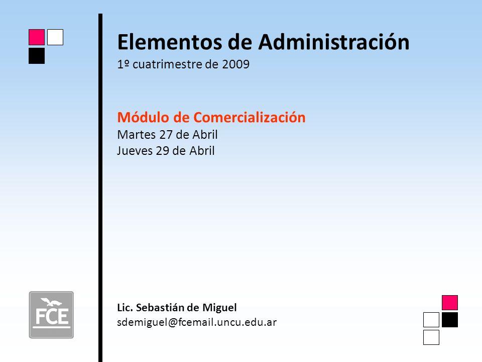 Elementos de Administración 1º cuatrimestre de 2009 Módulo de Comercialización Martes 27 de Abril Jueves 29 de Abril Lic. Sebastián de Miguel sdemigue