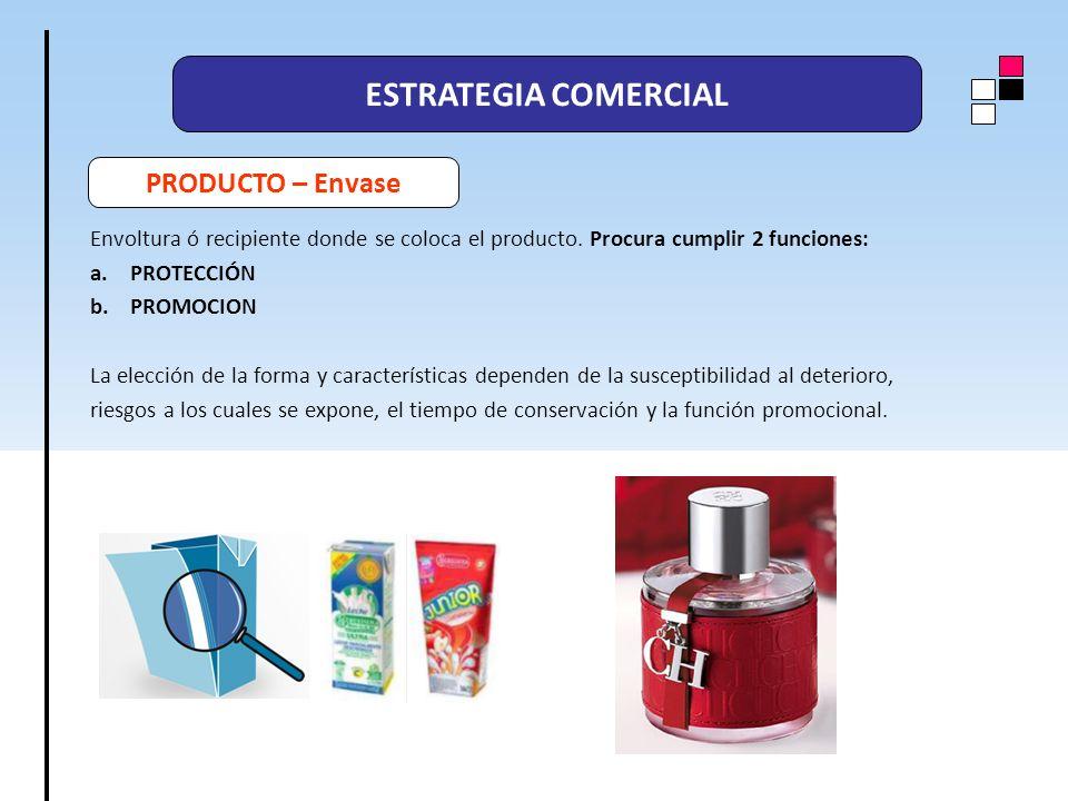 ESTRATEGIA COMERCIAL PRODUCTO – Envase Envoltura ó recipiente donde se coloca el producto. Procura cumplir 2 funciones: a.PROTECCIÓN b.PROMOCION La el