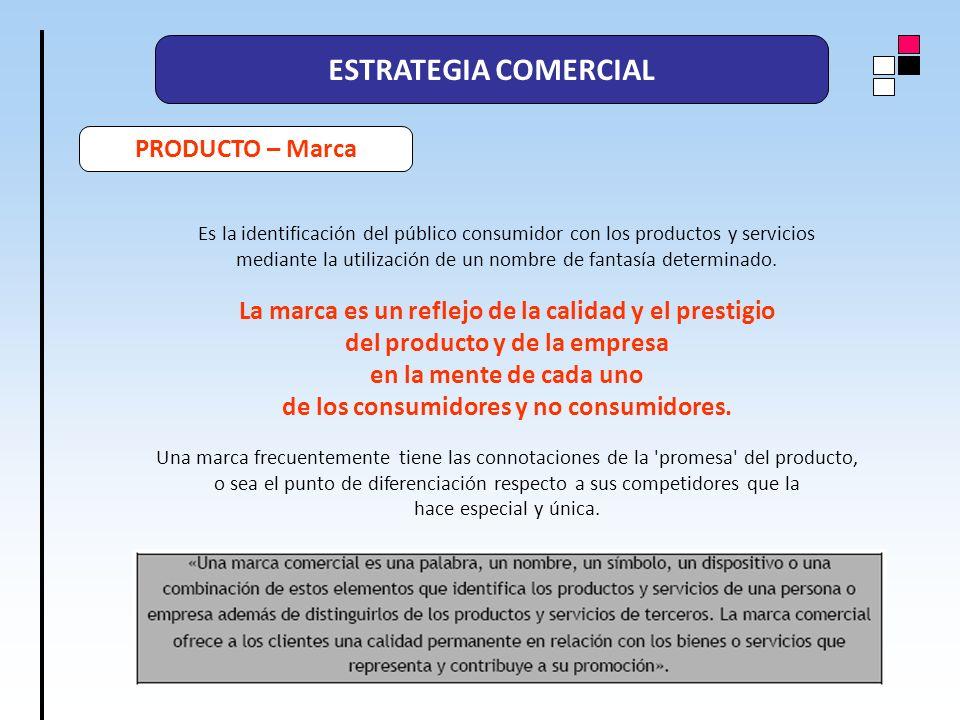 ESTRATEGIA COMERCIAL PRODUCTO – Marca Es la identificación del público consumidor con los productos y servicios mediante la utilización de un nombre d