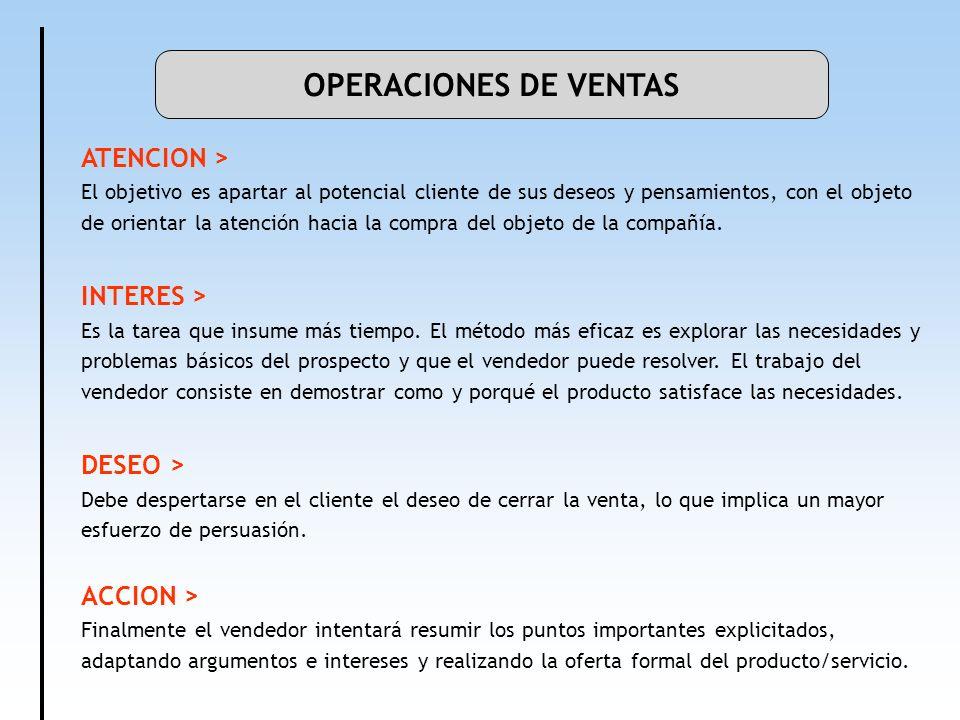 OPERACIONES DE VENTAS ATENCION > El objetivo es apartar al potencial cliente de sus deseos y pensamientos, con el objeto de orientar la atención hacia